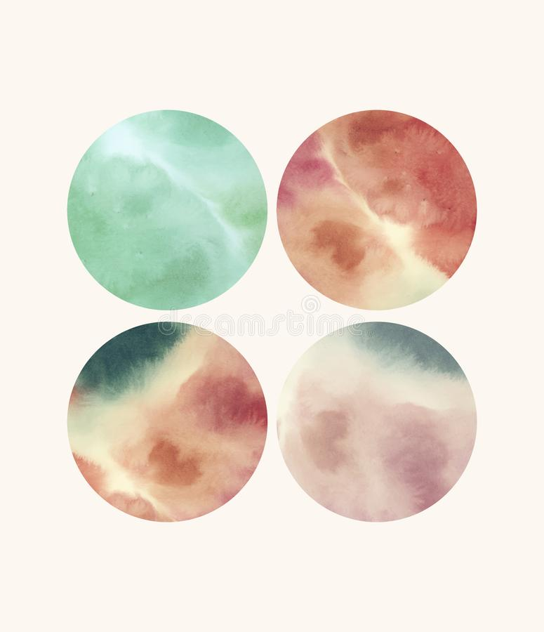 Round shaped watercolor backgrounds vector royalty free illustration