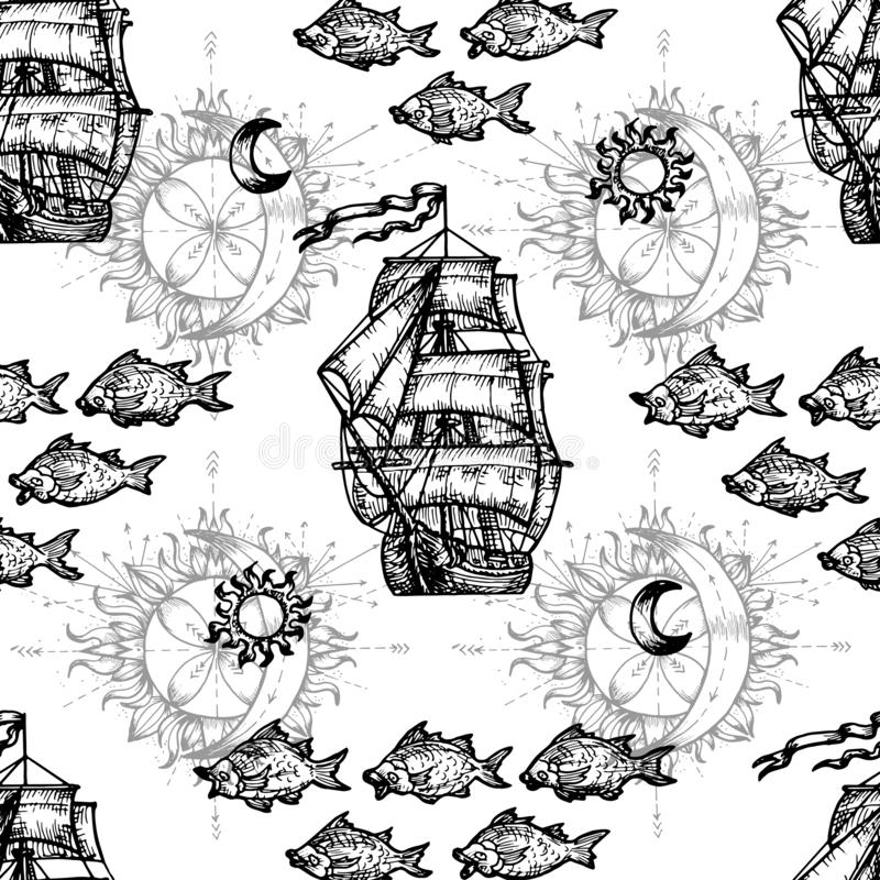 Seamless nautical background with ship and fish symbols. Vector engraved illustration in mystic style royalty free illustration