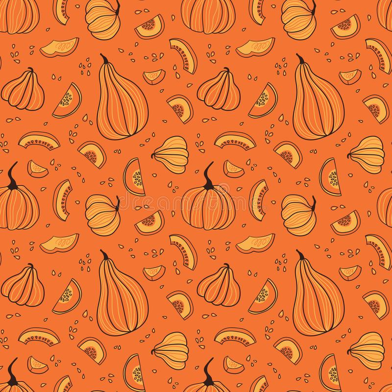Seamless pattern with hand drawn while pumpkins  and pieces. Hand drawn design for Halloween or Thankful day. royalty free stock images
