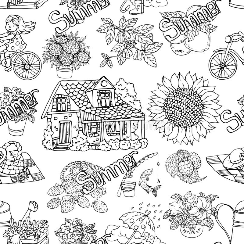 Seamless pattern with summer black and white drawings of cottage house, gardening objects, flowers, picnic. stock illustration