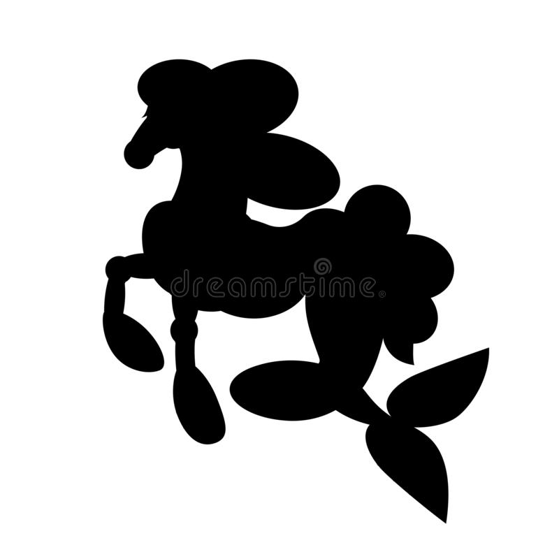 Silhouette of sea horse vector illustration, isolated black object on white background. vector illustration