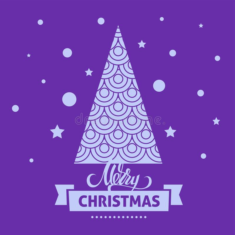 A square vector christmas image with a fur tree and a snowfall. Merry christmas lettering for holiday design. Christmas illustrati vector illustration