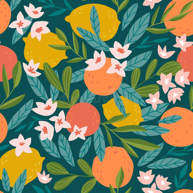 Tropical fruit seamless pattern. Citrus tree in hand drawn style. Vector fabric design with oranges, lemons and flowers vector illustration