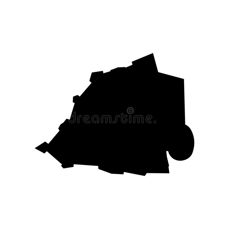 Basic RGB. Vector isolated illustration of political map of South Europe state - Vatican City State. Black silhouette. White background stock illustration