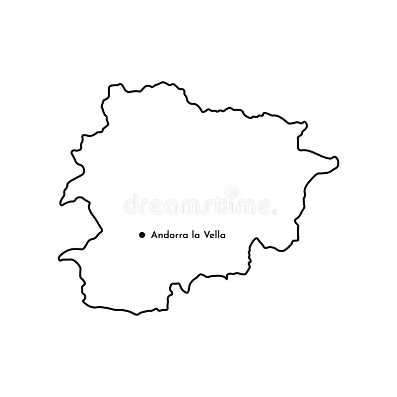 Basic RGB. Vector isolated illustration of simplified political map of South Europe state - Principality of Andorra. Marked capital - Andorra la Vella. Black royalty free illustration