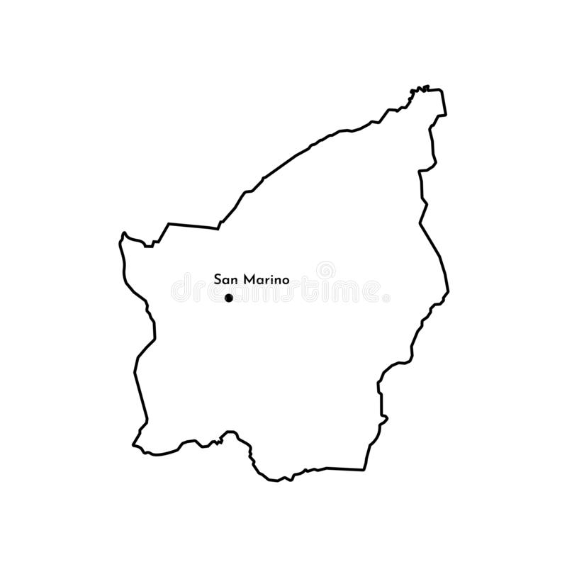 Basic RGB. Vector isolated illustration of simplified political map of South Europe state - Republic of San Marino. Black line silhouette. White background royalty free illustration
