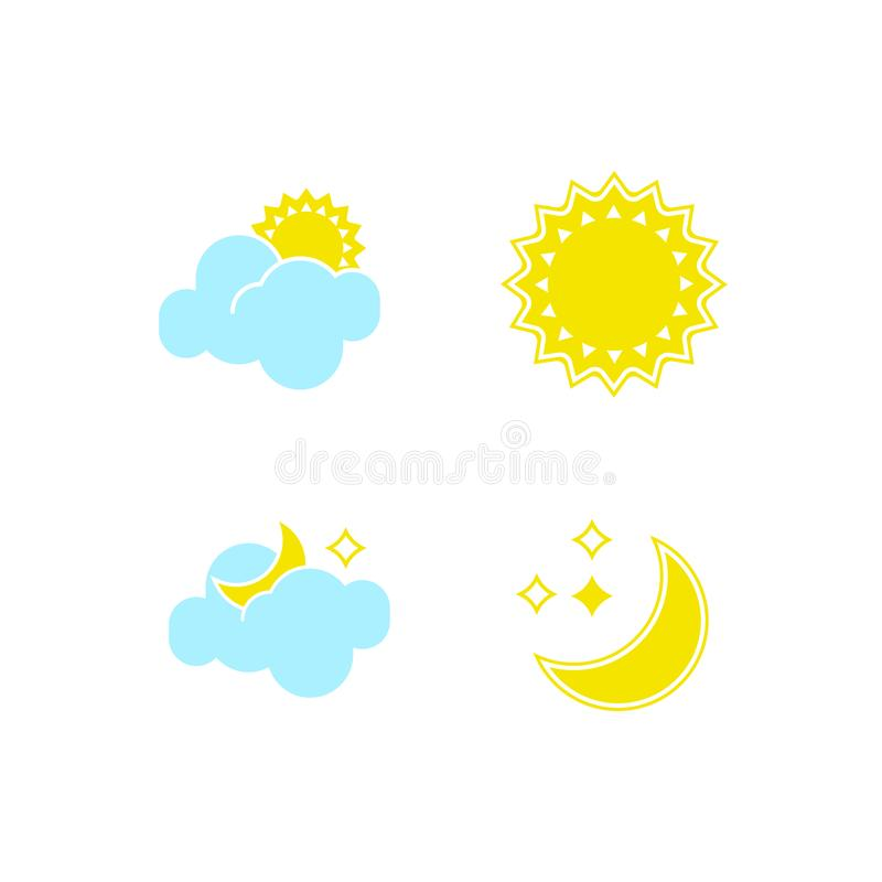 Basic set of essential weather icons in vector to show forecast and the clear and cloudy climate outside during the day. And the nighttime for applications royalty free illustration