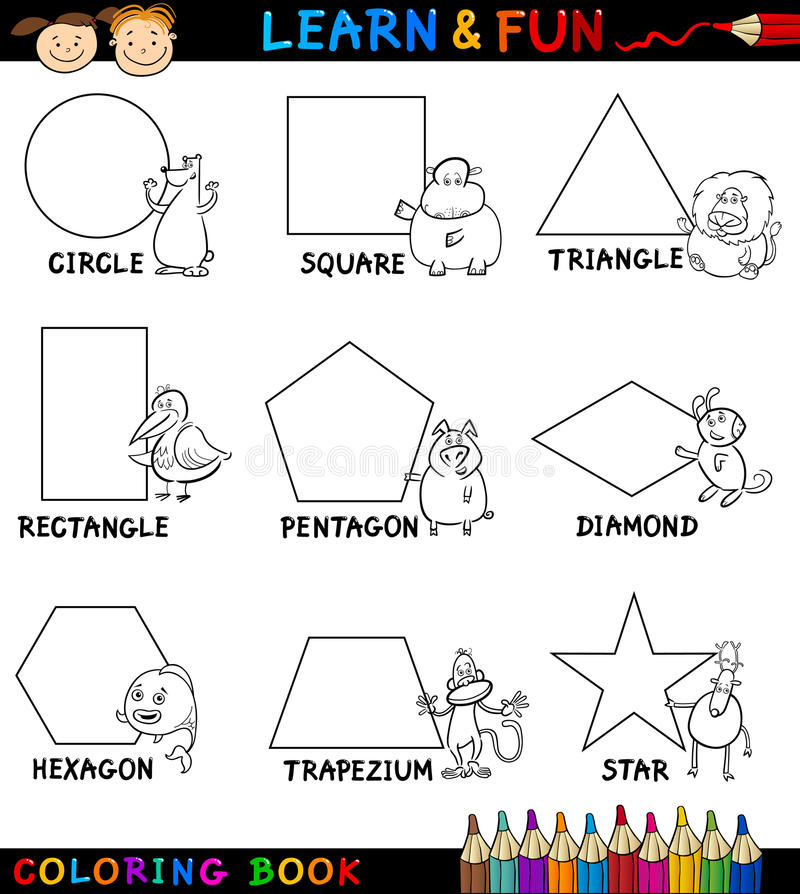 Download Basic Shapes With Animals For Coloring Royalty Free Stock Image - Image: 27041086