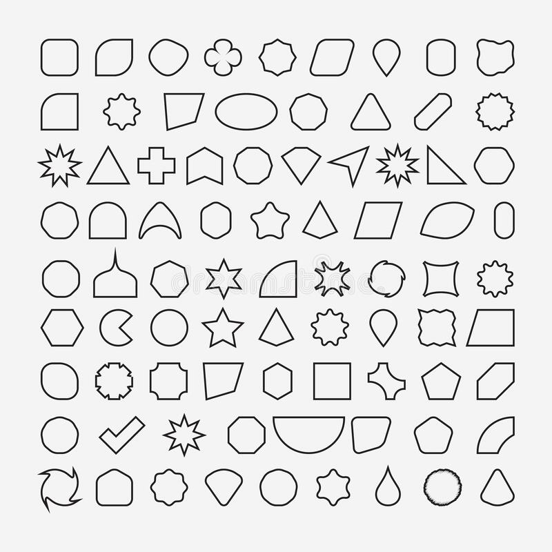 80 basic shapes outline eps 10 stock photos