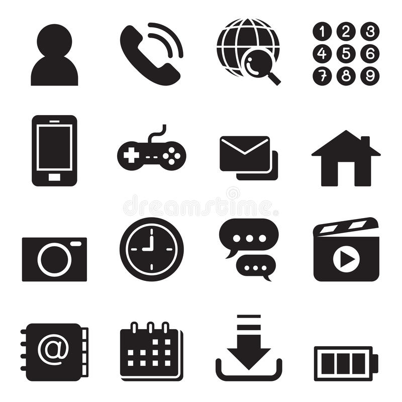 Basic Smart phone application icons set. Vector illustration Graphic Design symbol stock illustration