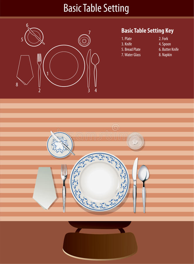 Basic table setting stock vector illustration of lunch Simple table setting for lunch