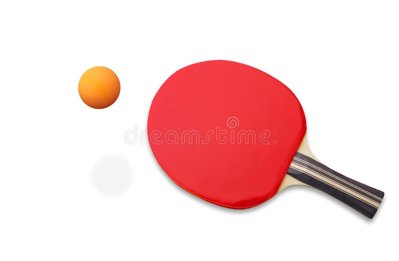 A basic table tennis racket or tennis paddle or bat and ball isolated on white background, clipping path included royalty free stock photo