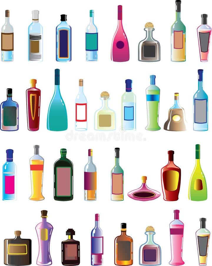 Basic vector alcohol bottles. No brand no logo bar necessity vector illustration