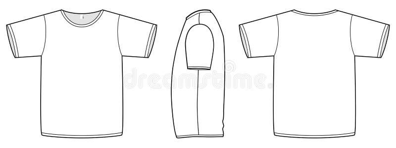 Basic vector unisex T-shirt template illustration. royalty free illustration