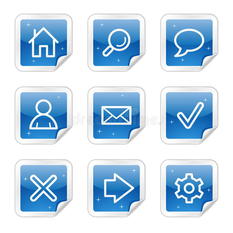 Basic Web Icons, Blue Sticker Series Stock Images