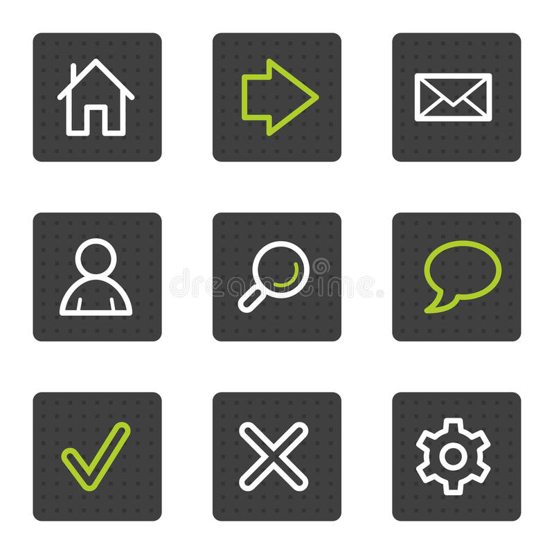 Download Basic Web Icons, Grey Square Buttons Series Stock Vector - Image: 13201908