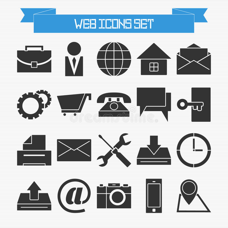 Basic web icons set stock illustration