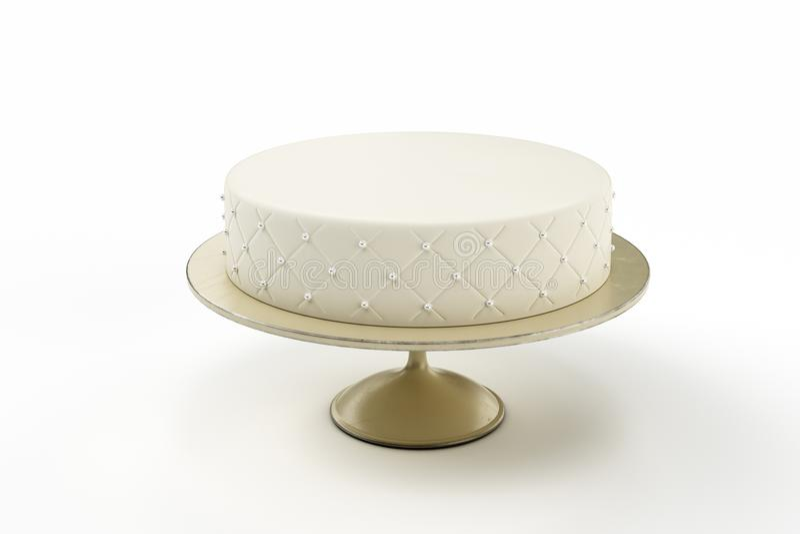 Basic wedding cake on plate isolated white background. 3d Illustration royalty free stock photo