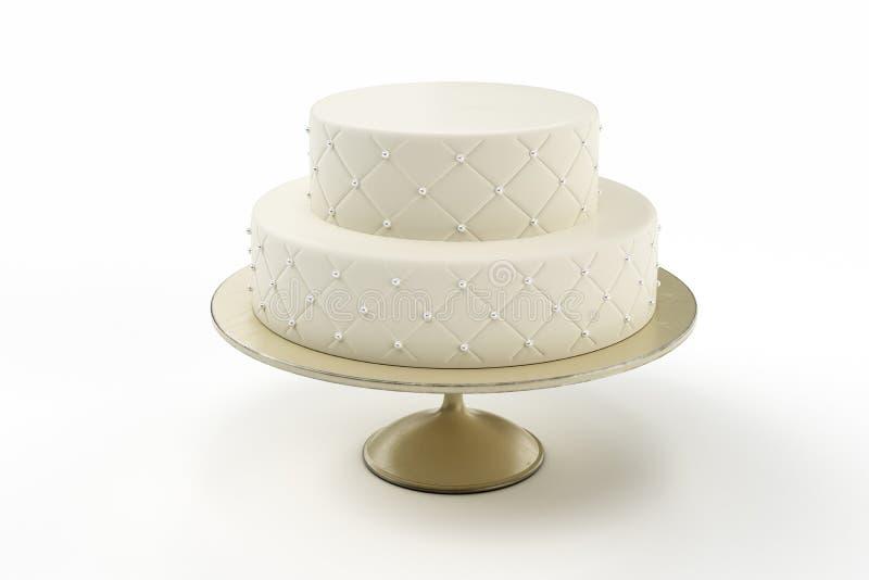 Basic wedding cake on plate isolated white background. 3d Illustration royalty free stock image