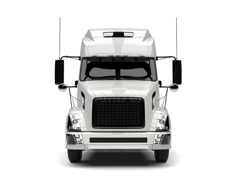 Basic white modern semi trailer truck - front view royalty free illustration