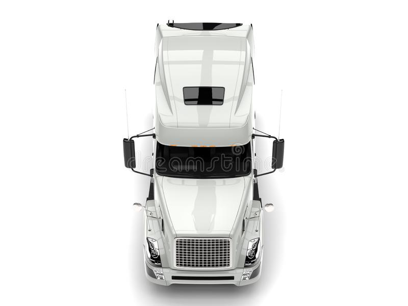 Basic white modern semi trailer truck - top down front view royalty free illustration