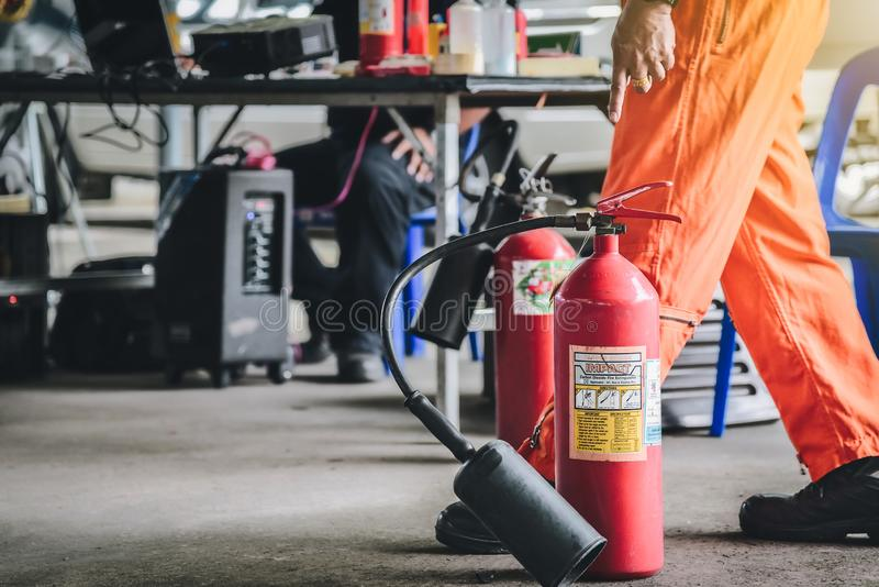 Basicfire fighting and evacuation fire drill Training on november 15 , 2017 in Bangkok, thailand. stock photography