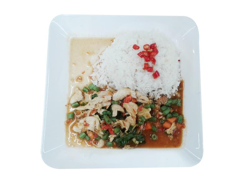 Basil Chicken. Rice topped with stir-fried and basil royalty free illustration