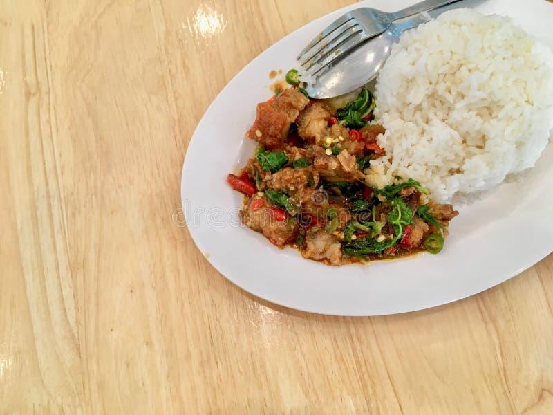 Basil Crispy griskött med ris fotografering för bildbyråer