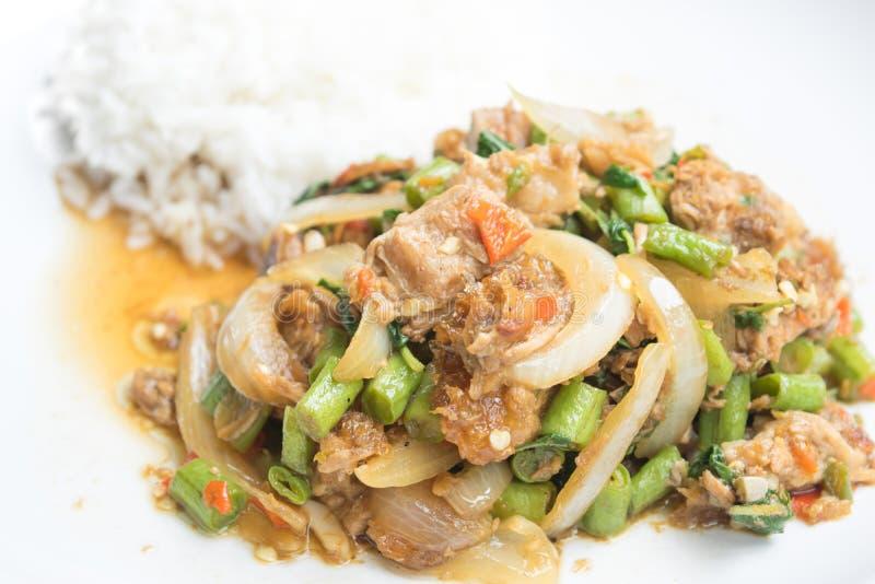 Basil Fried Rice con el cerdo curruscante sofrito, comida tailandesa imagen de archivo