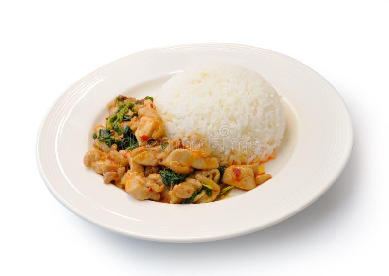 Basil Fried Rice mit Schweinefleisch stockfoto