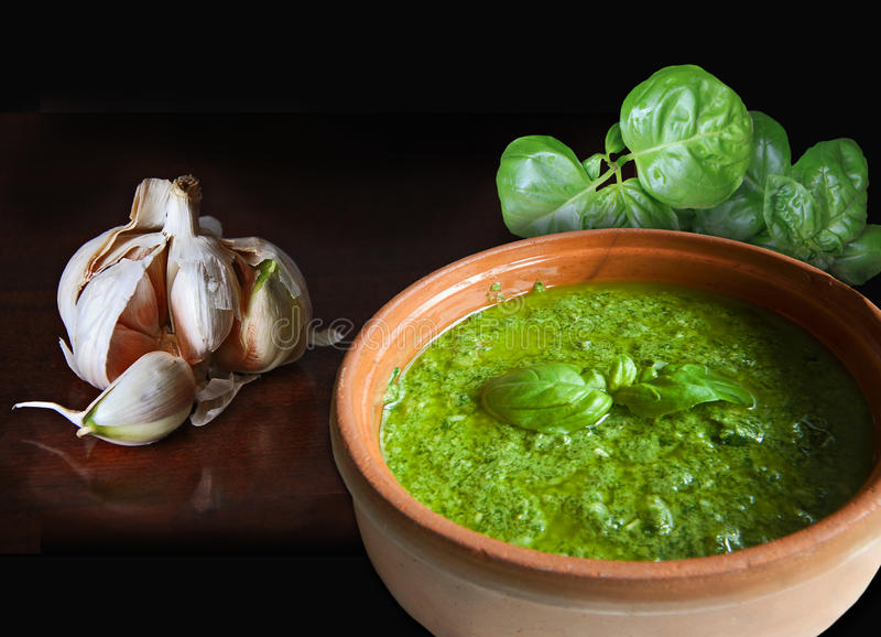 Basil garlic and pesto royalty free stock photos