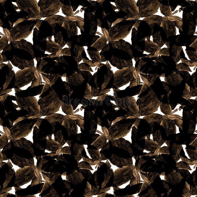 Basil Leafs Seamless Pattern Fondo disegnato a mano di Repeatably con l'erba ed il basilico della spezia immagini stock libere da diritti