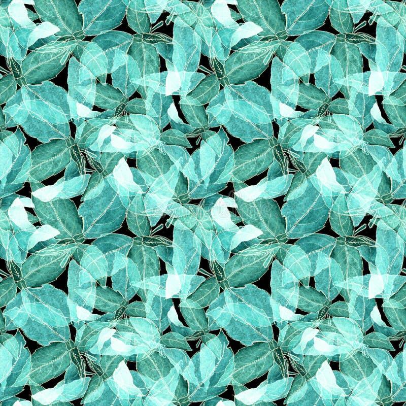 Basil Leafs Seamless Pattern Fundo tirado mão de Repeatably com erva e manjericão da especiaria fotos de stock royalty free