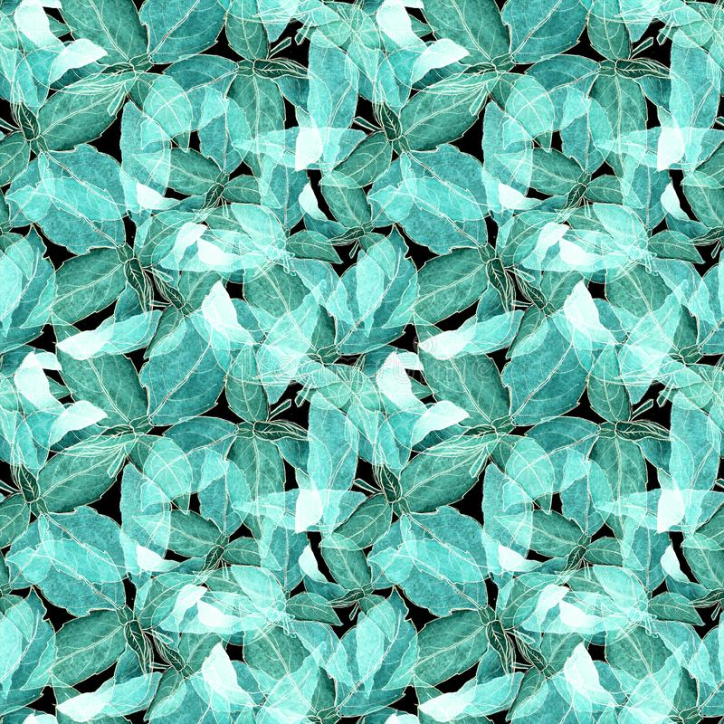 Basil Leafs Seamless Pattern. Repeatably Hand Drawn Background with Spice Herb and Basil. royalty free stock photos