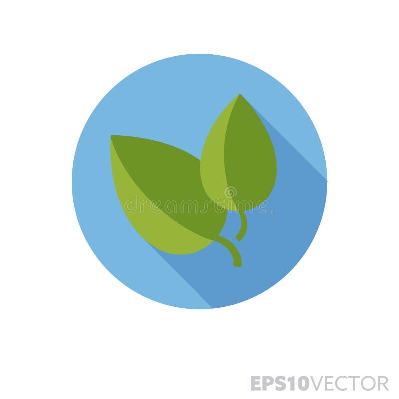 Basil leaves flat design long shadow color vector icon. Basil leaves flat design round icon. Color symbol of herbs and seasoning. Long shadow vector illustration stock illustration