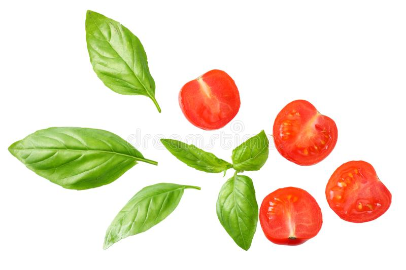 Basil leaves with tomato slices isolated on white background. Top view royalty free stock image
