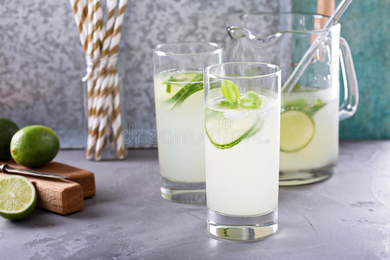 Basil lime and cucumber cooler royalty free stock image