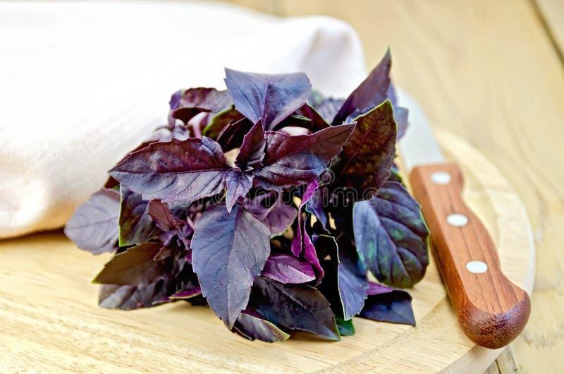 Basil purple with a knife on board. Bundle of purple basil, napkin, knife on background wooden plank stock photos
