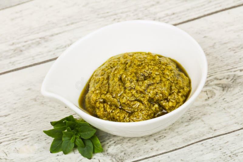 Basil sauce Pesto stock photo