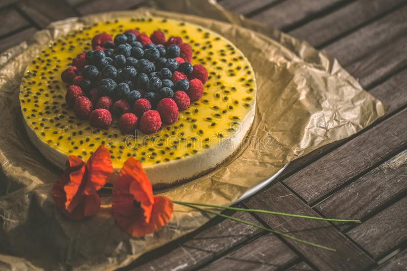 Basil seed cheesecake with fresh berries royalty free stock photos
