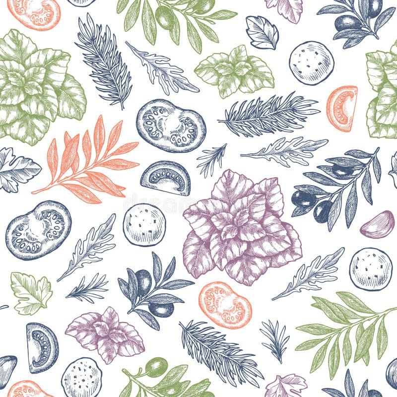 Basilic frais, mozarella, tomate, olive, modèle sans couture d'ail Illustration gravée de cadre Ingrédients italiens illustration libre de droits