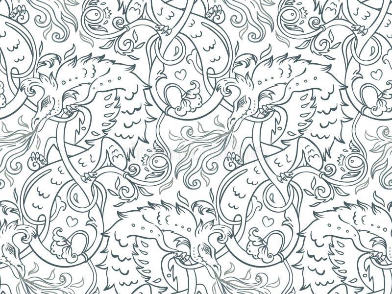 Basilic magique mythologique de bête, créature bizarre légendaire S illustration stock