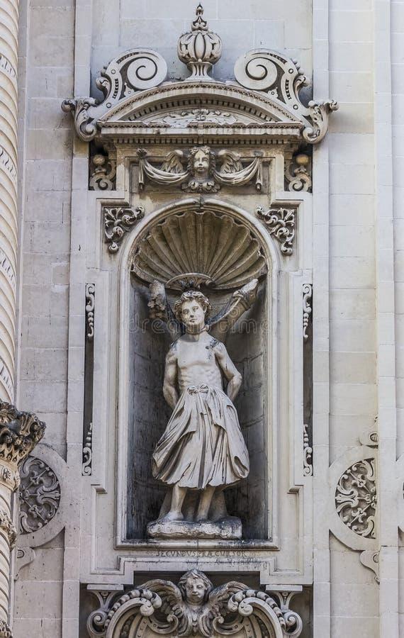 Basilic of Saint irene,lecce. Lecce,datail of the Saint Irene basilic stock photos