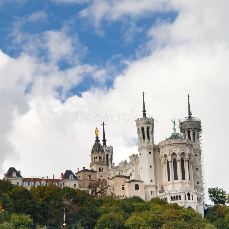 basilica贵妇人・ de fourviere法国利昂notre 图库摄影
