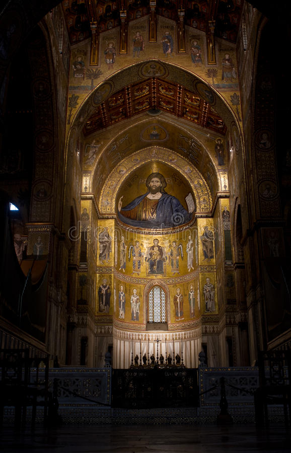 Basilica. Sicily, Monreale medival church indoors stock images