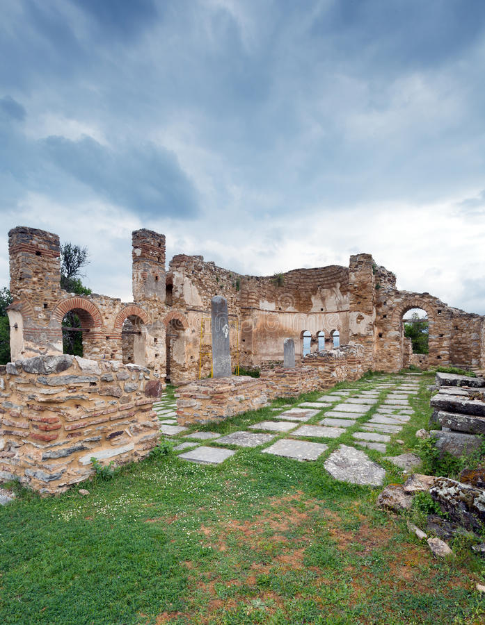 Basilica of Agios Achilios on the homonymous island, Small Prespa Lake, Macedonia, Greece royalty free stock photo
