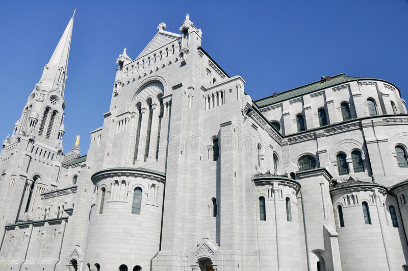 Basilica of Anne of Beaupre in Quebec stock photo