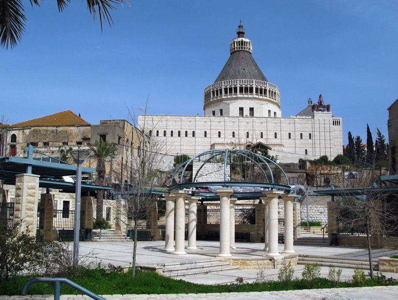 Basilica of the Annunciation, Nazareth, Israel stock images