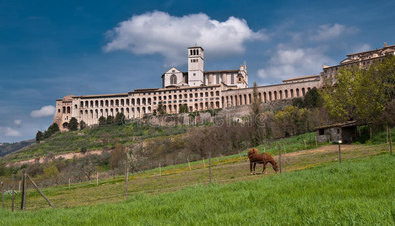 Download Basilica at Assisi stock photo. Image of tomb, landcape - 14397794