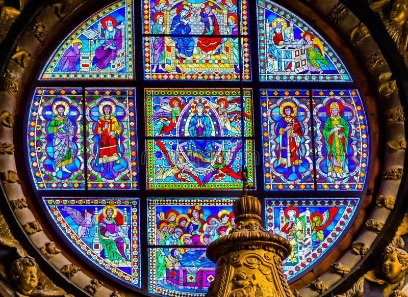 Basilica Blue Virgin Mary Saints Rose Window Stained Glass Cathedral Church Siena Italy. stock photos